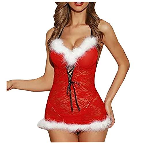 JISHII Weihnachten Pyjamas Damen Farbschreibweise V-Ausschnitt Pelzig Lace up Rückenfrei Nachthemd Stickerei Spitze Sexy Verführerisch Bodys Straff Passform Körperbetont Erotische Reizwäsche