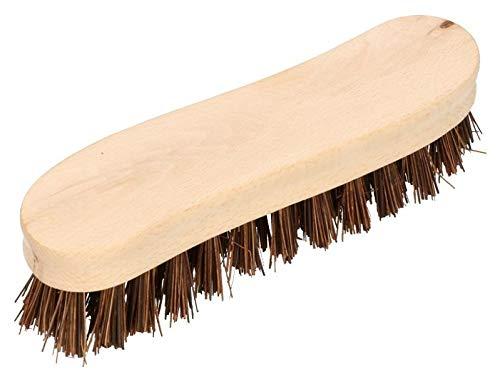 KOTARBAU Scheuerbürste S-Form 18 cm Holzgriff Braun Ergonomisch Effizient Wurzelbürste Reinigungsbürste Borsten aus Reiswurzeln Univer Schrubbbürste