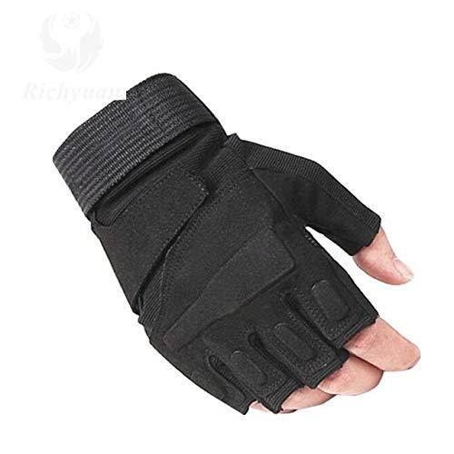 Lhbin Handschuhe Outdoor Sports Vollfinger Motorrad Skidproof Carbon Turtle Shell Handschuhe-T1150half schwarz-L