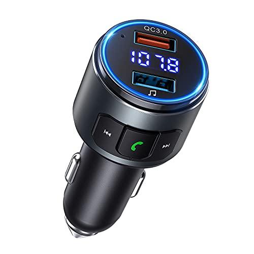 Trasmettitore FM Bluetooth 5.0 per Auto Supporta Siri & Assistente Google, Ricaricare Fino a 2 Dispositivi con QC 3.0 o 5V 2.4A, Chiamata in Vivavoce per Guida Sicura, Musica Bluetooth Disco U