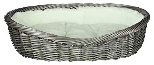 Trixie 28204 Weidenkorb mit Bezug und Kissen, 80 cm, grau