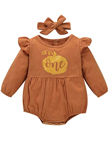 Shalofer Baby Girl Halloween Outfit One Year Old Birthday Bodysuit with Headband (Orange02,12-18 Months)