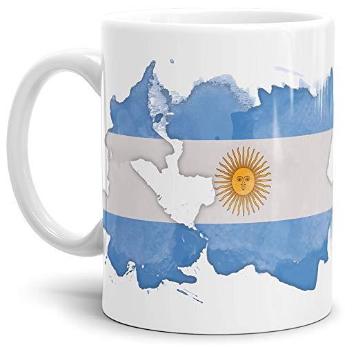 Tassendruck Flaggen-Tasse Argentinien Weiss - Fahne/Länderfarbe/Wasserfarbe/Aquarell/Cup/Tor/Qualität Made in Germany