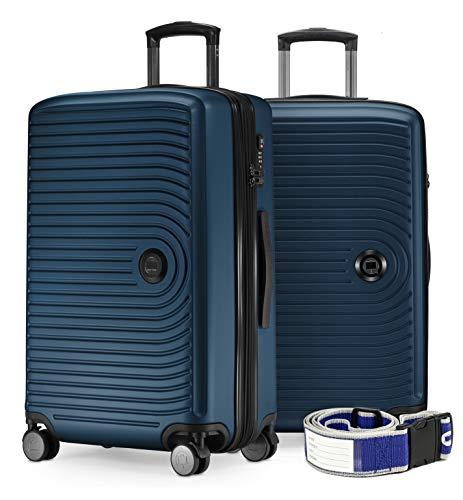 HAUPTSTADTKOFFER - Mitte - 2er Kofferset Trolley-Set + Zwei Koffergurte, Rollkoffer mit Dehnfalte 65cm, ABS, TSA, Dunkelblau