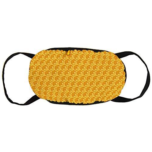 Stofvervuilingsmasker, Vloeibaar Honing Patroon Bijen Honingraat en Honing, Zwart Oor Pure Katoen masker, Geschikt voor Mannen en Dames Maskers