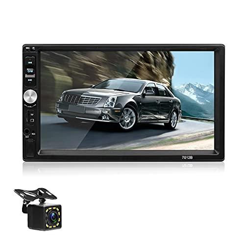 Radio de Coche Doble DIN: autoradio de Medios Digitales Bluetooth con Pantalla táctil de 7 '' con cámara de visión Trasera, Soportes, MirrorLink, Control del Volante, FM / USB / AUX / Entrada