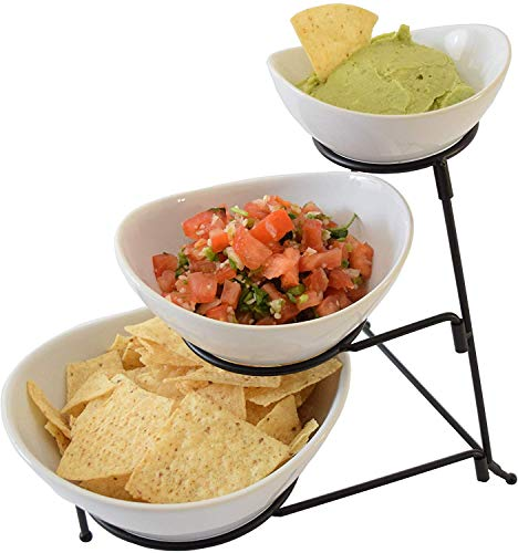 3 Tier Oval Chip and Dip Bowl Set Party Food Server Display Set Tiered Snack Server with Metal Rack
