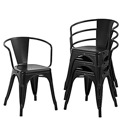 FDW Dining Chairs Set of 4 Metal Chair Indoor Outdoor Chairs Patio Chairs Kitchen Dining Chairs 18 Inch Seat Height Restaurant Chair Tolix Side Metal Stackable Bar Chairs 330LBS Weight Capacity,Black
