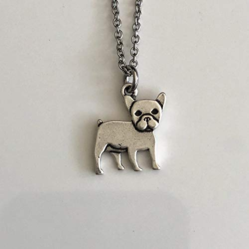 French Bulldog Necklace on Stainless Steel Chain - Frenchie Dog Breed Jewelry - Dog Mom Gift