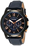 Fossil Men's Grant Quartz Leather Chronograph Watch, Color: Blue, Black (Model: FS5061IE)