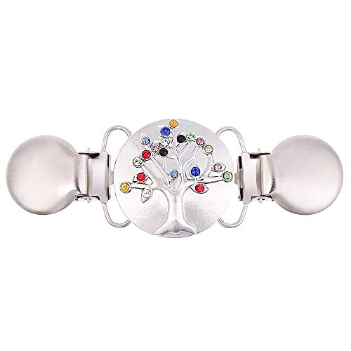 AKKi jewelry Damen Pullover-Clip Kragen Strick-Jacke Cardigan Schal blusen Clips Pullovers metallclips für brosche Nadel Lebensbaum