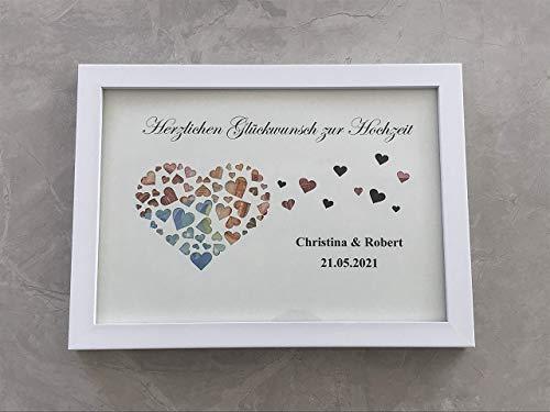 Geldgeschenk Herz Hochzeit MIT Bilderrahmen, Hochzeitsgeschenk personalisiert (mit Ihren Namen),