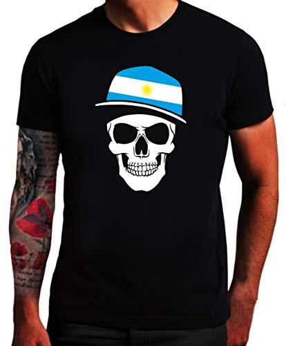 Argentinien - T-Shirt - Skullz Fahne - Totenkopf ARG SC (L)