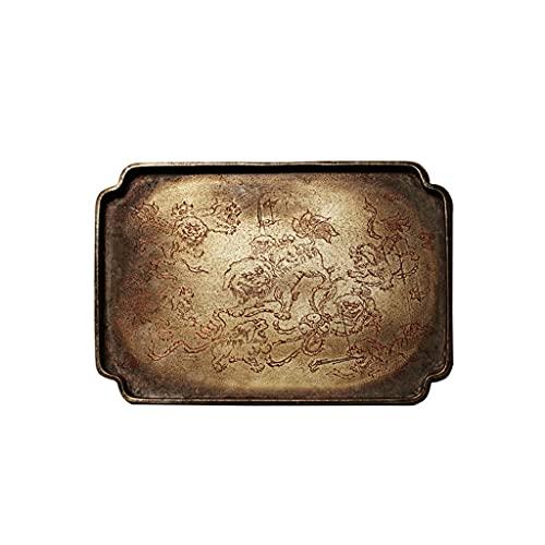 De metal bandeja rectangular de la vendimia de bronce placa decorativa aperitivos té baño cocina fruta placa de café (Color : A)