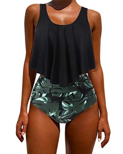 OMKAGI Women's Ruffle Bikini Swimsuit High Waisted Bottom Plus Size Swimwear Tankini(XL,Black Leaf)
