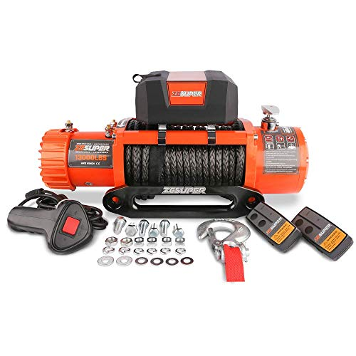 ZESUPER 12V 13000-lb Load Capacity Electric Truck Winch Kit Synthetic Rope, Waterproof Off Road Winch for Jeep,Truck,SUV with Wirless Remote and Corded Control(13000-Rope)