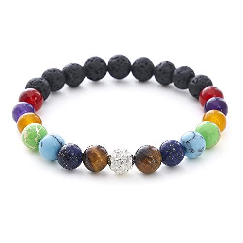 7 Chakren 925 Silberperle Armband mit Naturstein und Lavastein Perlen – BERGERLIN Feel Goods