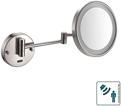 RRH Makeup Mirrors Wall Mounted Cosmetic Mirror, Brass + Zinc + Stainless Steel/Single Side/Wall Mount/Sensor Switch/LED Light/Extensible/Rotary (Color : A)