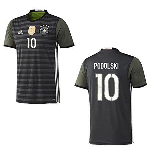 adidas DFB 4Sterne Away Deutschland Auswärtstrikot grau mit Flock EM2016, Nummer und Name:10 - Podolski, Größe:140