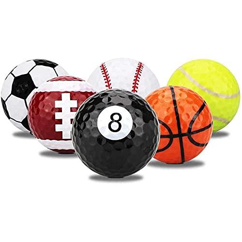 junmo shop 6 pelotas de golf, construcción de doble capa, duradero, para entrenamiento en interiores o exteriores
