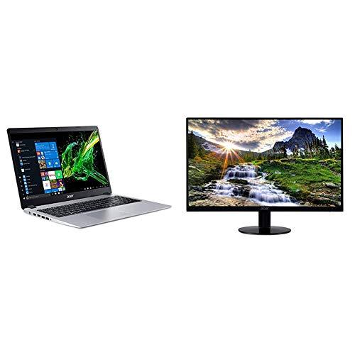 Acer Aspire 5 Slim Laptop, 15.6 inches Full HD IPS Display, A515-43-R19L,Silver & SB220Q bi 21.5 inches Full HD (1920 x 1080) IPS Ultra-Thin Zero Frame Monitor (HDMI & VGA Port),Black