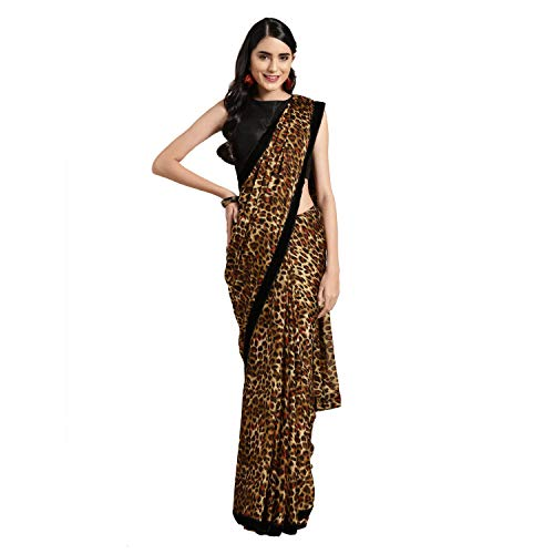 Womanista Women's Crepe Saree with Blouse (FSP770_Brown & Musatrd_Onesize_Brown, Mustard)