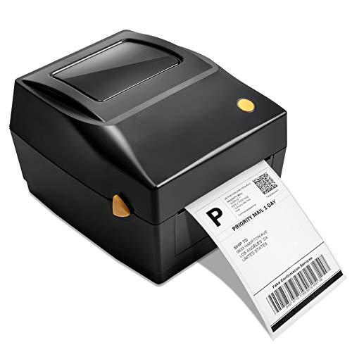 Desktop Etikettendrucker Thermodrucker Label Printer USB-Direkt Etikettiermaschinen kompatibel mit 4 x 6 Versandetiketten, Ebay, Etsy, Shopify, Amazon Barcode (Grau)