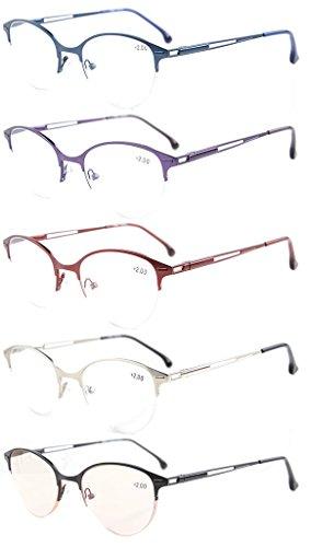 Eyekepper 5-pack kwaliteit veerscharnieren Half-Rim Cat-Eye stijl leesbril inclusief computerbril +0.75 mix