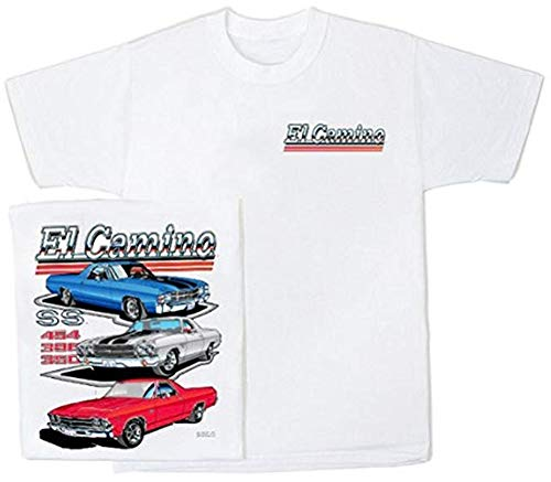 Chevy EL Camino Retro Vintage Classic Car T-Shirt, XL White