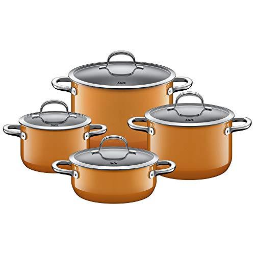 Silit Passion Orange - Batería de cocina para inducción (4 piezas, con tapa de cristal, cerámica Silargan, sin níquel), color naranja
