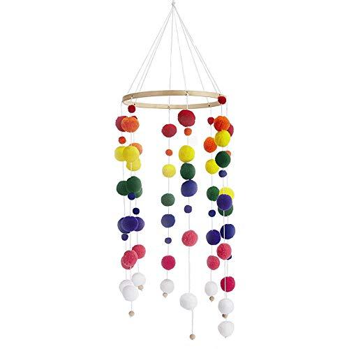 Babybett Mobile Windspiel Rassel Spielzeug aus Filz Ball und Bambus, Neugeborenen Kinderzimmer hängende Bettglocke, Holz Ornament Geschenk für Baby Mädchen oder Jungen. (a4)