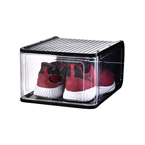 KKING Cajas De Almacenamiento, Caja De Zapatos Apilable, Gabinete Modular para Ahorrar Espacio De Almacenamiento, Estante De Exhibición Transparente Sólido, 4 Piezas,Negro,13 * 10.43 * 6.89in