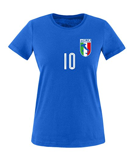 Luckja EM 2016 Trikot Italien Fanshirt EM04 Damen Rundhals T-Shirt