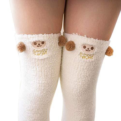 Binoster Cute Panda Muslo Calcetines a rayas largas Coral Fleece Warm Soft calcetines hasta la rodilla, Navidad Las mujeres y las niñas