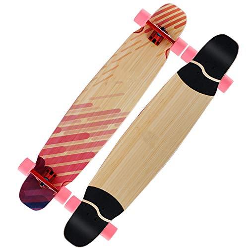 Patinetes para niños Monopatín de longboard, patineta cóncava de cubierta de doble patada de arce de 7 capas, papel de lija antideslizante de alta transparencia, adecuado para adultos, niños y niñas