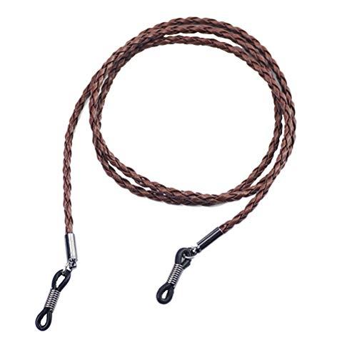 VORCOOL Brillen Halter Strap Cord Leder Brillen String Halter Kette Halskette Brillenband Lanyard Brillenhalter für Männer Frauen Kinder (Braun)