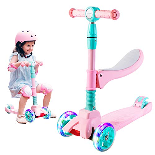 SULIVES 3 Wheel Scooter for Kids Ages 2-12 - Foldable Scooter with Removable Seat, 3 Adjustable Heights, Extra-Wide Deck with 4 Light-Up Wheels, Best Toy Gifts for Boys & Girls (Pink)