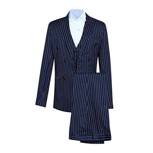 Plot Herren 3-Teilig Streifen Anzüge Business Hochzeit Smoking Zweireiher Anzug Jacke Weste mit Anzughose Set Blazer Sakko Herrenmode