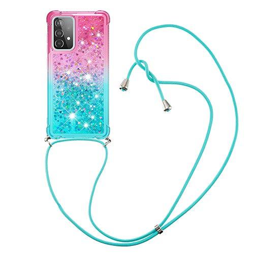 HülleLover Handykette Handyhülle für Samsung Galaxy A52 5G, Glitzer Flüssig Bewegende Treibsand Transparent Silikon Hülle mit Kordel zum Umhängen Necklace Hülle Band für Samsung A52 4G/5G, Rosa Grün