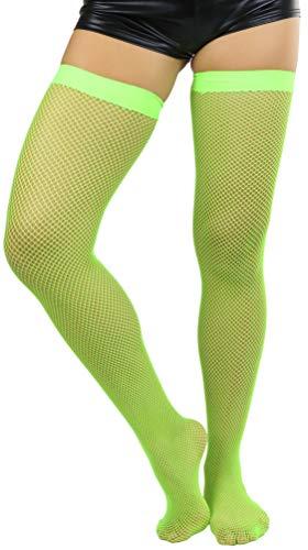ToBeInStyle Women's Bright Exotic Long Fishnet Thigh High Socks Hosiery - Neon Green - One Size: Regular
