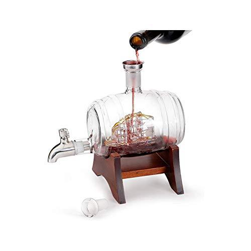 Decantador de vino de cristal hecho a mano, Decantador de barril de vino náutico, decantador de whisky de vino, dispensador, espíritus de almacenamiento, vidrio de cristal sin plomo, soplado a mano, a