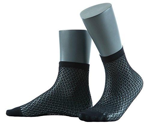 Gatta Jacquard Netzsöckchen 25 - elegante Socken mit einem schönen Muster - onesize - Nero