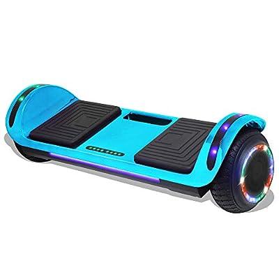 "Longtime 6.5"" Chrome Metallic Hoverboard Self Balancing Scooter with Speaker LED Lights Flashing Wheels (Metallic Blue)"