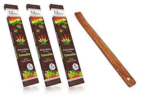 XXL-Sparpack : paquet de 3 avec 20 bâtonnets d'encens géant au cannabis - Durée de combustion : 3 heures par pièce - Extra long