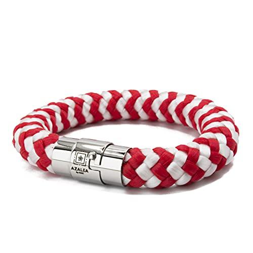 Pulsera magnética de cuerda trenzada UNISEX. Brazalete hecho a mano en España con cordón náutico Paracord y doble cierre de acero inoxidable.Rojo y blanco (XL [19.6-23 cm])