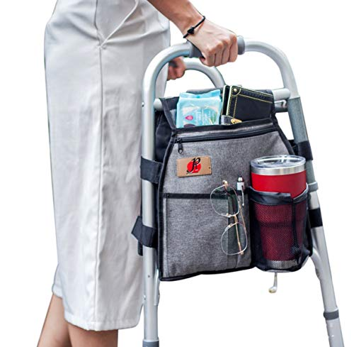 Side Walker(Double Sided) Attachments Bags with Cup Holder for Folding Walker by P&F | Hanging Pouch...