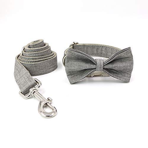 YIBAO Conjunto De Collar Y Correa para Perro con Pajaritas, Material De Lino Ajustable, Collar para Perros Pequeños/Medianos/Grandes.Personalized.Gray XL