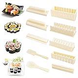 Taicanon Herramienta de sushi para hacer bolas de arroz Nori Sushi Tool 5 en 1, juego de 10 piezas para suprimir varias formas de rollos de sushi de bolas de arroz