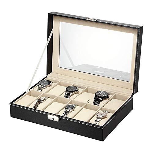 Belleashy Caja de Reloj con 12 Compartimentos para Relojes y Joyas, Organizador para Hombres y Mujeres, colección de Cajas, Fibra de Carbono, Beige, 30 * 20 * 8cm