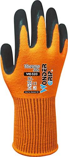 Wonder Grip WG-320 Thermo Lite - Arbeitshandschuh mit Kälteschutz, doppelter Latexbeschichtung; Anti-Rutsch Schutzhandschuhe für sicheres Greifen; M / 08, Hi-viz Orange, M/08